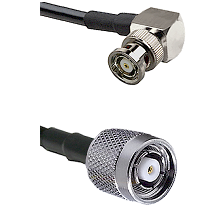 BNC Reverse Polarity Right Angle Male on RG400 to TNC Reverse Polarity Male Cable Assembly