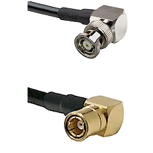 BNC Reverse Polarity Right Angle Male on RG400 to SMB Right Angle Female Cable Assembly