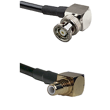 BNC Reverse Polarity Right Angle Male on RG400 to SMC Right Angle Male Cable Assembly