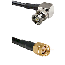 BNC Reverse Polarity Right Angle Male on RG400 to SMA Reverse Thread Male Cable Assembly