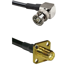 BNC Reverse Polarity Right Angle Male on RG400 to SMA 4 Hole Female Cable Assembly