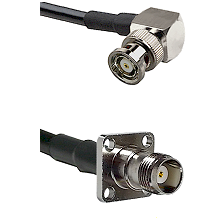 BNC Reverse Polarity Right Angle Male on RG400 to TNC 4 Hole Female Cable Assembly