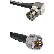 BNC Reverse Polarity Right Angle Male on RG400 to UHF Male Cable Assembly
