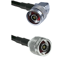 N Reverse Polarity Right Angle Male on Belden 83242 RG142 to N Reverse Polarity Male Coaxial Cable A