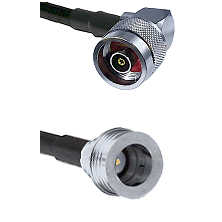 N Reverse Polarity Right Angle Male on LMR100 to QN Male Cable Assembly