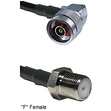 N Reverse Polarity Right Angle Male Connector On LMR-240UF UltraFlex To F Female Connector Coaxial C