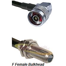 N Reverse Polarity Right Angle Male Connector On LMR-240UF UltraFlex To F Female Bulkhead Connector
