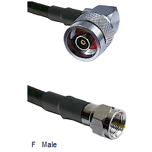 N Reverse Polarity Right Angle Male Connector On LMR-240UF UltraFlex To F Male Connector Coaxial Cab