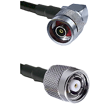 N Reverse Polarity Right Angle Male on LMR240 Ultra Flex to TNC Reverse Polarity Male Coaxial Cable