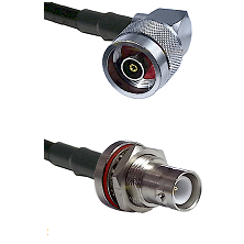 N Reverse Polarity Right Angle Male Connector On LMR-240UF UltraFlex To SHV Bulkhead Jack Connector