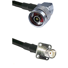 N Reverse Polarity Right Angle Male on RG142 to BNC 4 Hole Female Cable Assembly