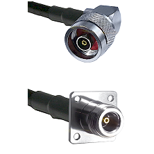 N Reverse Polarity Right Angle Male on RG142 to N 4 Hole Female Cable Assembly