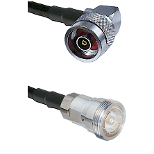 N Reverse Polarity Right Angle Male on RG58C/U to 7/16 Din Female Cable Assembly