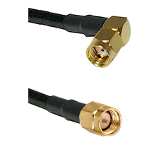 SMA Reverse Polarity Right Angle Male on Belden 83242 RG142 to SMB Male Cable Assembly