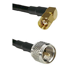 SMA Reverse Polarity Right Angle Male on LMR100 to Mini-UHF Male Cable Assembly