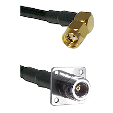 SMA Reverse Polarity Right Angle Male on LMR200 UltraFlex to N 4 Hole Female Cable Assembly