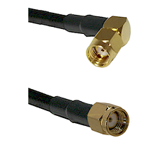 SMA Reverse Polarity Right Angle Male on LMR240 Ultra Flex to SMA Reverse Polarity Male Coaxial Cabl
