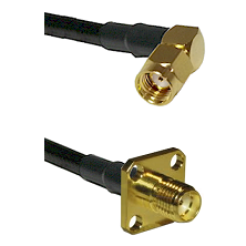 SMA Reverse Polarity Right Angle Male on LMR240 Ultra Flex to SMA 4 Hole Female Coaxial Cable Assemb