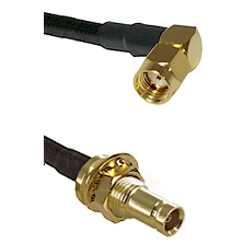 SMA Reverse Polarity Right Angle Male on RG142 to 10/23 Female Bulkhead Cable Assembly