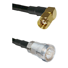 SMA Reverse Polarity Right Angle Male on RG142 to 7/16 Din Female Cable Assembly