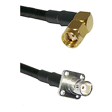 SMA Reverse Polarity Right Angle Male on RG142 to BNC 4 Hole Female Cable Assembly