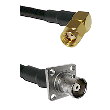 SMA Reverse Polarity Right Angle Male on RG142 to C 4 Hole Female Cable Assembly