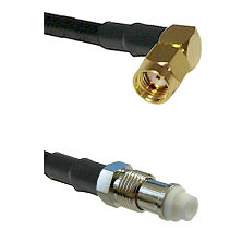 SMA Reverse Polarity Right Angle Male on RG142 to FME Female Cable Assembly