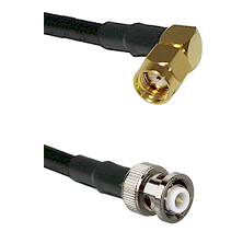 SMA Reverse Polarity Right Angle Male on RG142 to MHV Male Cable Assembly