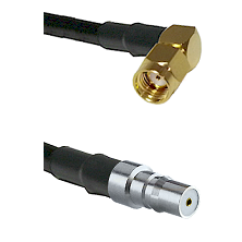 SMA Reverse Polarity Right Angle Male on RG142 to QMA Female Cable Assembly