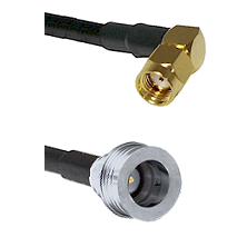 SMA Reverse Polarity Right Angle Male on RG142 to QN Male Cable Assembly