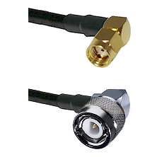 SMA Reverse Polarity Right Angle Male on RG142 to C Right Angle Male Cable Assembly