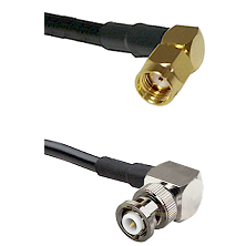 SMA Reverse Polarity Right Angle Male on RG142 to MHV Right Angle Male Cable Assembly