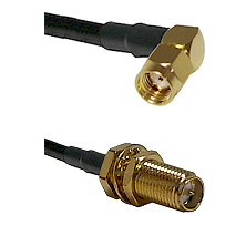 SMA Reverse Polarity Right Angle Male on RG142 to SMA Reverse Polarity Female Bulkhead Coaxial Cable