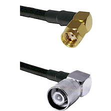 SMA Reverse Polarity Right Angle Male on RG142 to SC Right Angle Male Cable Assembly