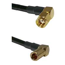 SMA Reverse Polarity Right Angle Male on RG142 to SLB Right Angle Female Cable Assembly