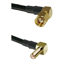 SMA Reverse Polarity Right Angle Male on RG142 to SLB Right Angle Male Cable Assembly