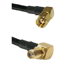 SMA Reverse Polarity Right Angle Male on RG142 to SMA Right Angle Female Bulkhead Coaxial Cable Asse