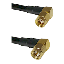 SMA Reverse Polarity Right Angle Male on RG142 to SMA Right Angle Male Cable Assembly