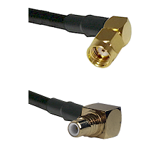 SMA Reverse Polarity Right Angle Male on RG142 to SMC Right Angle Male Cable Assembly