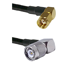 SMA Reverse Polarity Right Angle Male on RG142 to TNC Right Angle Male Cable Assembly