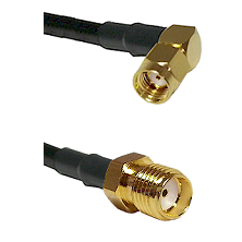 SMA Reverse Polarity Right Angle Male on RG142 to SMA Reverse Thread Female Cable Assembly