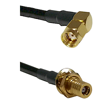 SMA Reverse Polarity Right Angle Male on RG142 to SLB Female Bulkhead Cable Assembly