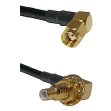 SMA Reverse Polarity Right Angle Male on RG142 to SLB Male Bulkhead Cable Assembly