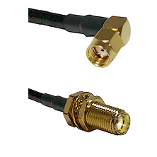 SMA Reverse Polarity Right Angle Male on RG142 to SMA Female Bulkhead Cable Assembly