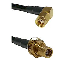 SMA Reverse Polarity Right Angle Male on RG142 to SMB Female Bulkhead Cable Assembly