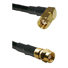 SMA Reverse Polarity Right Angle Male on RG142 to SMC Female Cable Assembly