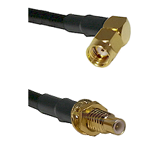 SMA Reverse Polarity Right Angle Male on RG142 to SMC Male Bulkhead Cable Assembly