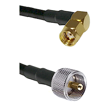 SMA Reverse Polarity Right Angle Male on RG142 to UHF Male Cable Assembly