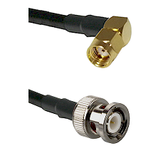 SMA Reverse Polarity Right Angle Male on RG58 to BNC Male Cable Assembly