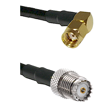 SMA Reverse Polarity Right Angle Male on RG58 to Mini-UHF Female Cable Assembly